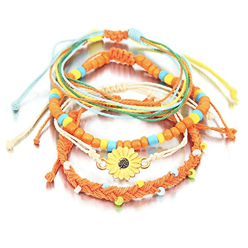 4 Pieces Sunflower Bracelet Braided Rope Bracelet Waterproof String Ocean Surfer Bracelet Colorful Beaded Boho Charms for Women Girl ()