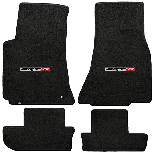 Fits 2008-2010 Dodge Challenger 4pc Ebony Black Front & Rear Floor Mats with SRT-8 Logo in Red & Silver