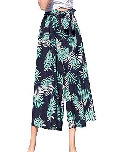 Ericcay Pantaloni Estivi Donne Tempo Libero Pantaloni Pantaloni Larghi Pantaloni Palazzo Elegante Culotte Leggero Relaxedchic Fiore Modello Mare Colour-7