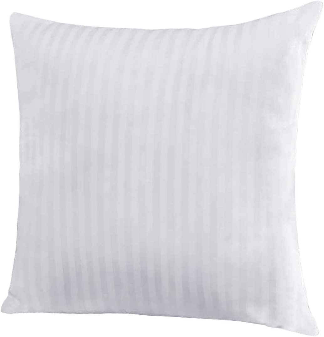 "EvZ Homie Premium Stuffer Pillow Insert Sham Square Form Polyester, 20"" L X 20"" W, Standard White Striped, for 18"" Covers"