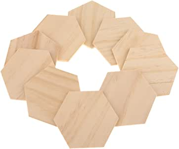 Unfinished Hexagon-Shaped Wood Pieces (10pc) – Wooden Coasters, Light Smooth Wood is Easy to Paint, Stain, Embellish – for DIY Art Craft Projects
