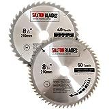 Saxton Lot de 2 lames de scie circulaire TCT - 210 x 30 mm pour Festool Bosch Makita un sac