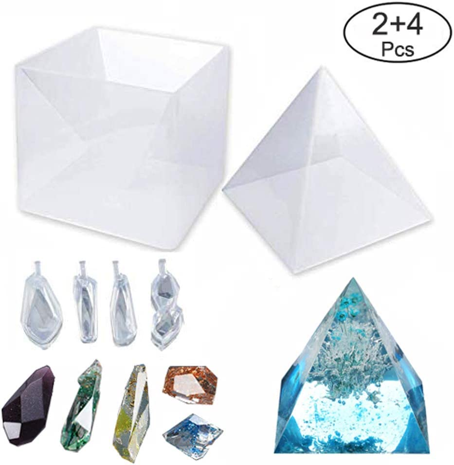 Kimnny Large Resin Molds Lets Resin Pyramid Molds Orgonite Jewelry Home Decoration Great for Paperweight Resin Silicone Molds for DIY Orgonite Orgone Pyramid