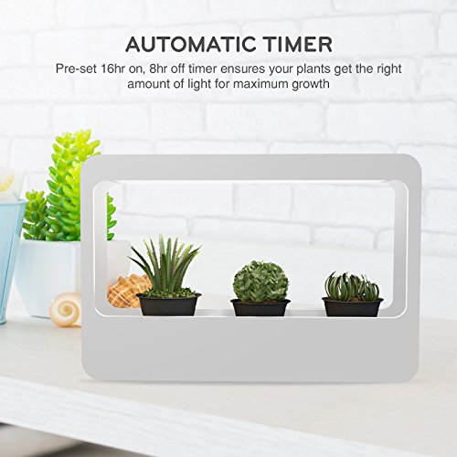 Mindful Design LED Indoor Herb Garden - At Home Mini Window Planter Kit for Herbs, Succulents, and Vegetables by (White)