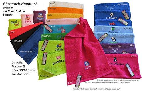 Kinder-Handtuch (Gästetuch) 30x50cm mit Namen & Motiv bestickt