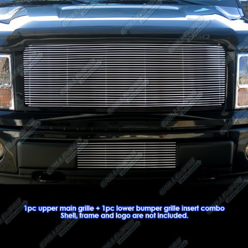 APS Compatible with 2009-2014 Ford F150 Billet Grille Grill Insert Upper+Lower F86614A