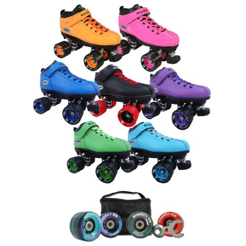 Riedell Dart Indoor Quad Speed Skates with Radar Energy Outdoor Wheel Deal and Matching Laces