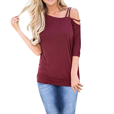 6086b548a7ad81 Amazon.com  Laimeng World 2019 Women Short Sleeve T-Shirt Solid Asymmetrical  Neckline Cold Shoulder Strap Tops(S-XL)  Clothing