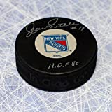 Autographed Jean Ratelle New York Rangers Hockey Puck - Signed NHL Pucks
