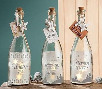 1 X Sekt Flaschenpost 5 LED Glas Winterzeit Höhe 30 Cm, Christmas,