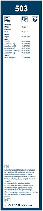 500//475 L/änge Bosch 3397118565 Wischblatt Satz Twin 503