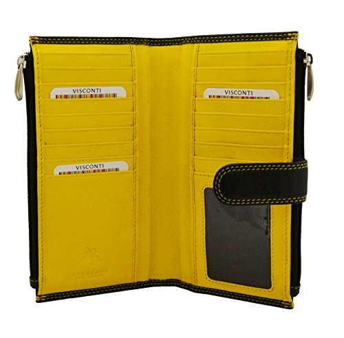 Visconti CD23 Jade Womens Soft Leather Bifold Wallet ,Purse, Clutch COLORADO COLLECTION (Black/Yellow)