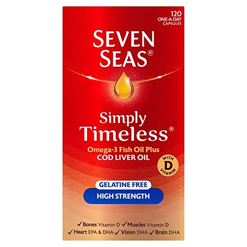 Seven Seas Cod Liver Oil High Strength With Omega 3 Plus Vitamins D & E 120 Capsules