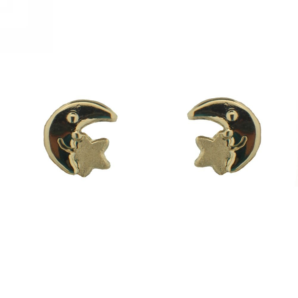 7mm 18Kt Yellow Gold Half Moon with Star Screwback Earrings