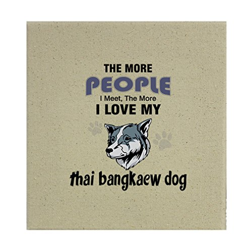 Style in Print Stretched Natural Canvas More People Meet Love Thai Bangkaew Dog 12''X12'' by Style in Print