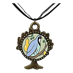 Chicforest Bronze Retro Style Partridge In A Pear Tree Photo Storybook The Tree Of Life And Wishing Pendant