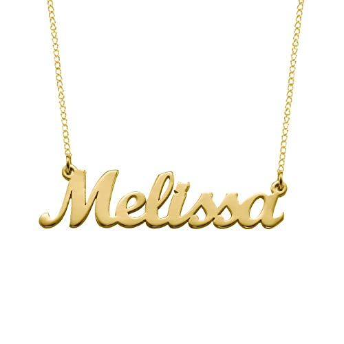 34d3f5bf125eb2 Personalized 925 Sterling Silver or 18K Gold Plated Nameplate Necklace  Pendant Custom Made with Any Names