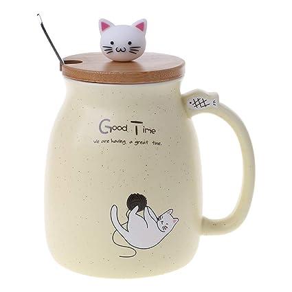 Katzen Keramik Kaffeetasse mit Deckel und Löffel For me