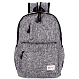 Backpack College Style Simple Flax Multifunction Travel Outdoor Casual Backpack (Gray)