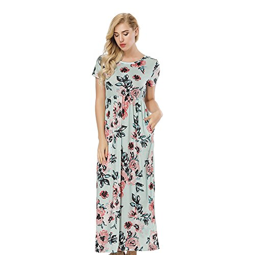 Green Print Floral (ORICSSON Womens Short Sleeve Dress Floral Print High Waist Casual Tunic Long Midi with Side Pockets Green)