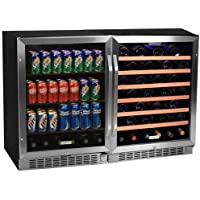 Edgestar 53 Bottle + 148 Can Side-by-Side Wine & Beverage Cooler Center