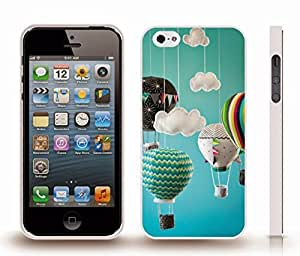 iStar Cases? iPhone 4 Case with Hot Air Balloons, Fabric Miniatures and Clouds against a Blue Backdrop, Photo, Close-up , Snap-on Cover, Hard Carrying Case (White)