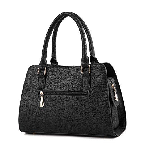 Black Shoulder Bags Leather Body Bags Faux Cross Handle Handbags Top Bags Women's wgqxPYS