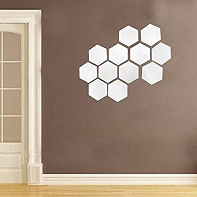 Euone_Home Wall Stickers Home Decor for Bedroom, 12Pcs 3D Mirror Hexagon Vinyl Removable Wall Sticker Decal Home Decor Art Silver: Home & Kitchen