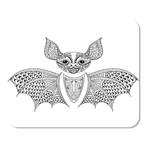 Suike Mousepad Computer Notepad Office Zentangle Bat Totem for Adult Anti Stress Coloring Page for Therapy Tribal Home School Game Player Computer Worker 9.5x7.9 Inch]()