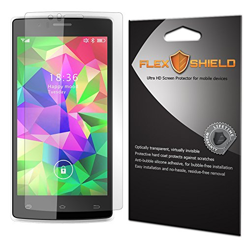 Archos Screen Protector (Archos 50d Helium 4G Screen Protector [5-Pack], Flex Shield - Ultra Clear Japanese PET Film with Lifetime Warranty - Bubble-Free HD Clarity with Anti-Fingerprint & Scratch Resistance)