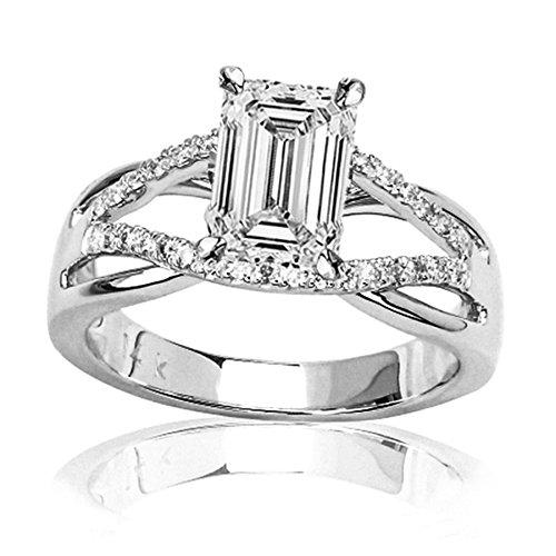 0.77 Carat t.w. GIA Certified Emerald Cut Platinum Infinity Twisting Split Shank Pave Set Round Diamonds Engagement Ring (D-E Color VS1-VS2 Clarity Center Stones) (Ct Diamond Emerald Cut 0.77)