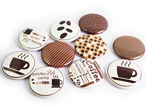 (Coffee and Chocolate Brown 1 inch Flat Back Buttons (Coffee and Cream - 16 pcs))
