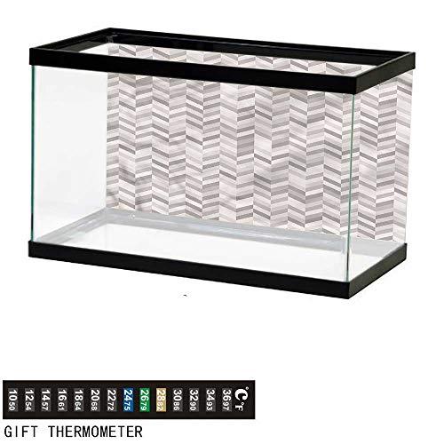bybyhome Fish Tank Backdrop Chevron,3D Style Monochrome Stripes,Aquarium Background,48