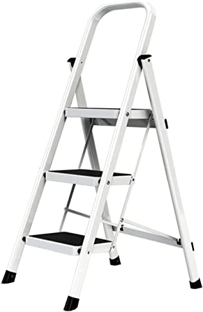 AOSTEP Escalera Plegable de 3/4/5 escalones con rieles de Seguridad de Acero Compacto y Patas Antideslizantes multifunción, portátil, para Interiores, Color Rojo, Negro y Gris: Amazon.es: Hogar