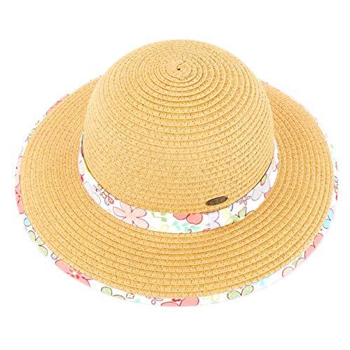C.C Hatsandscarf Kids Floppy Straw Brim Summer Beach Sun Hat (KIDS-2004) (Flower-Coral)