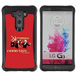 All-Round híbrido Heavy Duty de goma duro caso cubierta protectora Accesorio Generación-II BY RAYDREAMMM - LG G3 - Communism Red Funny Quote Party Symbol