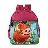 Kids Timon & Pumbaa School Backpack Cartoon Baby Boys Girls School Bag Pink