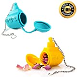 Wishstone Mr & Mrs Submarine Tea Infuser - Blue and Yellow - Good Addition To Deep Scuba Diver , Manatee , Shark & Nessie Loch Ness Monster Strainer & Filter