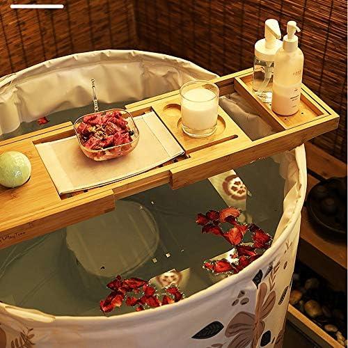 浴槽 ポータブル折りたたみバスタブアダルト折りたたみ風呂バレル家庭ピンクのサクラプリント柄のバケット付きバススツール65x70cm 大人用家庭用 (Color : Pink, Size : 65x70cm)