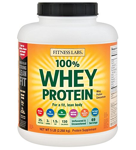 Fitness Labs 100% Whey Protein Unflavored and Unsweetened (5 Pounds)