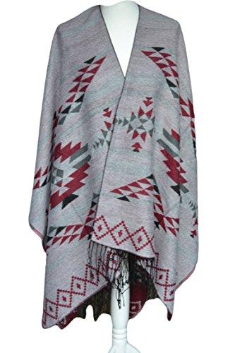 Bekleidung-für-Dich - Poncho - para mujer rojo, gris
