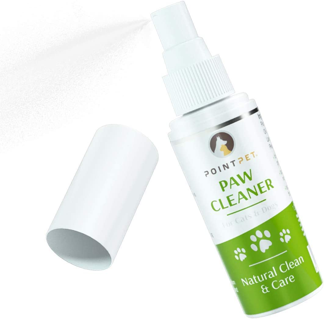 POINTPET Paw Cleaner Natural Clean & Care - Dog and Cat Paws Cleansing & Conditioning Spray - All-Natural Formula, Fresh Scent, Cat and Dog Grooming – Coconut, Aloe Vera, Marigold, Lavender, Vitamin E