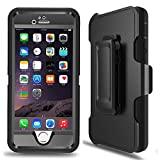 iPhone 6s Case, iPhone 6 Case Heavy Duty Drop Protection Tough Shockproof Cover with Belt Clip Built-in Screen Protector for iPhone 6/6s 4.7 (Black),Ptuna