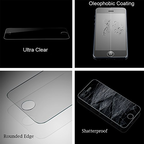 Amplim Alloy Ultra FS Apple iPhone 5S Gray Aluminum Case + Scratch Proof Tempered Glass Screen Protector Rounded Edges; AT&T Verizon Sprint T-Mobile