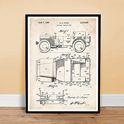 Jeep Military Vehicle Invention Poster 1942 Patent Art Handmade Gicl?e Gallery Print Parchment Unframed