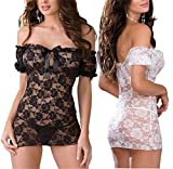 Walid-Free size Sexy Lingerie black white Lace Lingerie Sexy Tight temptation perspective pajamas with T pants underwear ( One Size )