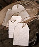AK-Trading 1 7/8'' x 2 7/8'' Natural Canvas Creative Tags with Jute Twine - Pack of 12