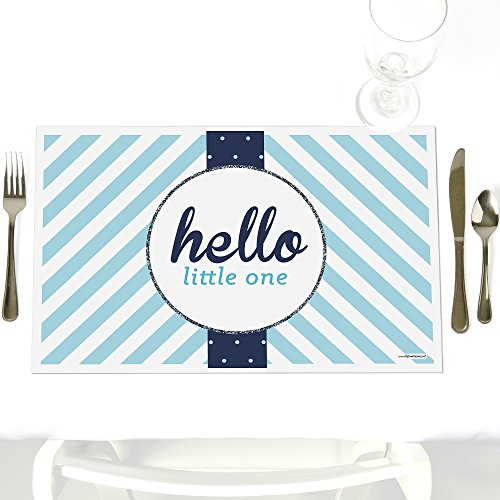 Hello Little One - Blue and Silver - Party Table Decorations - Boy Baby Shower Party Placemats - Set of 12
