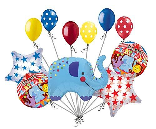 11pc Circus Elephant Balloon Bouquet Happy Birthday Decoration Carnival Animal ()
