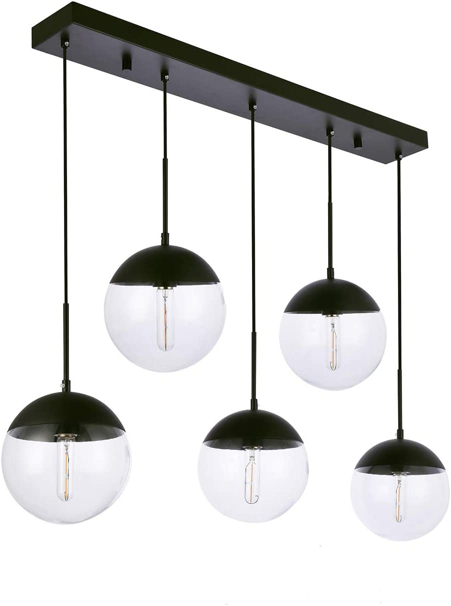 Kitchen Pendant Light with Sphere 5-Light, A1A9 Modern Industrial Glass Ball Globe Ceiling Lights Fitting, E26 LED Chandelier Lamp Fixture for Kitchen Island, Bar, Dining Room, Counter, Cafe Black